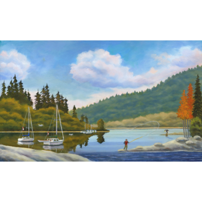 Fly Fishing for Cut Throat Trout, Painting